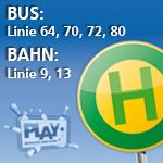 Bus Linie 64,70, 72 und 80  Bahn Linie 9 und 13